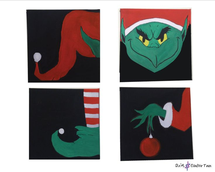 -CHRISTMAS ELF -Acrylic paint on canvas -Measures: 20x20 cm each