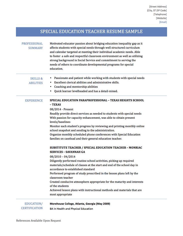paraprofessional resume templates constescom special needs samples of resume for job application