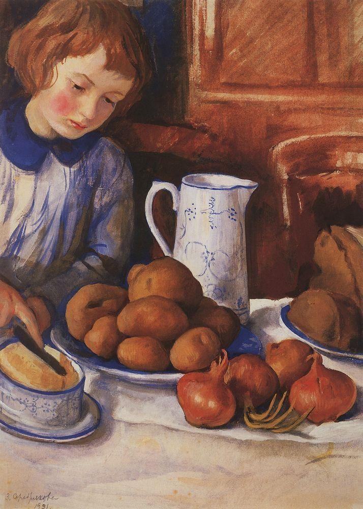 Катя у кухонного стола. 1923. Зинаида Серебрякова (1884-1967)