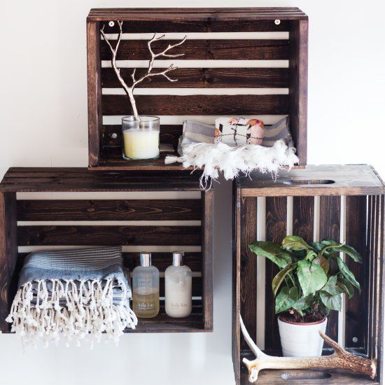 Make your own wood stained crate shelves for your bathroom or any room in your house.
