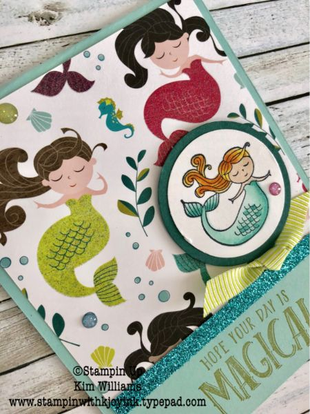 Stampin Up Magical Day stamp set. Mermaid card for a girls birthday. Kim Williams, stampinwithkjoyink.typepad.com. Birthday cards for kids made easy. Myths and Magic paper from the New Stampin Up Occasions Catalog 2018 Stampin Up Magical Day stamp set. Mermaid card for… #easycardmagic