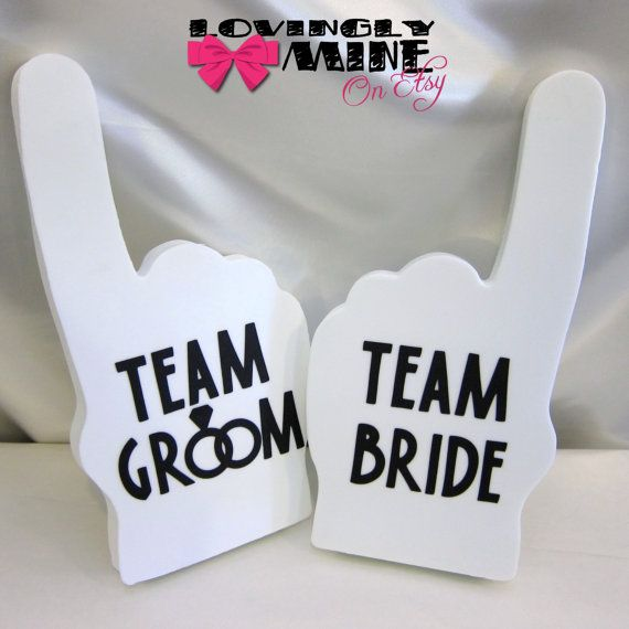 Photobooth Props - White Team Bride & Team Groom Foam Fingers