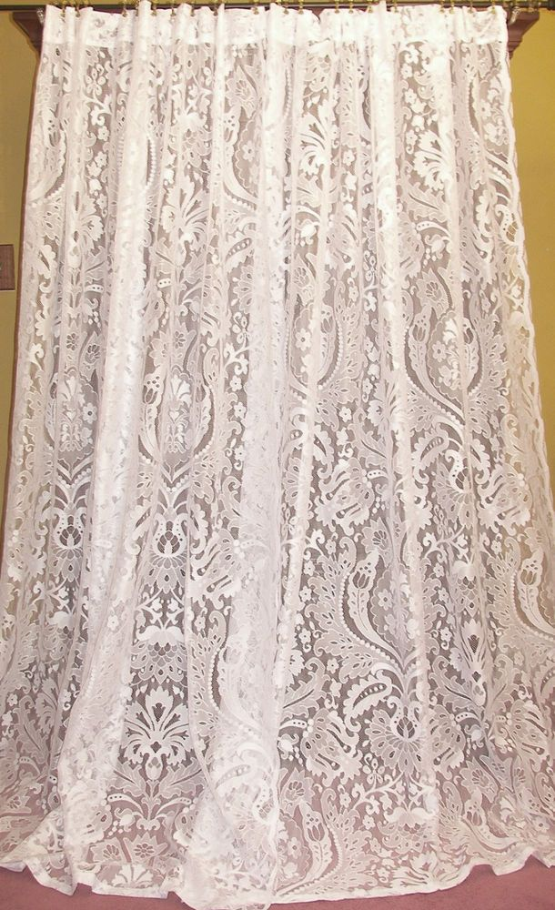 Vintage Victorian Chic French Country Cottage Net Floral Lace Drapes Curtains Pr Lacecurtains