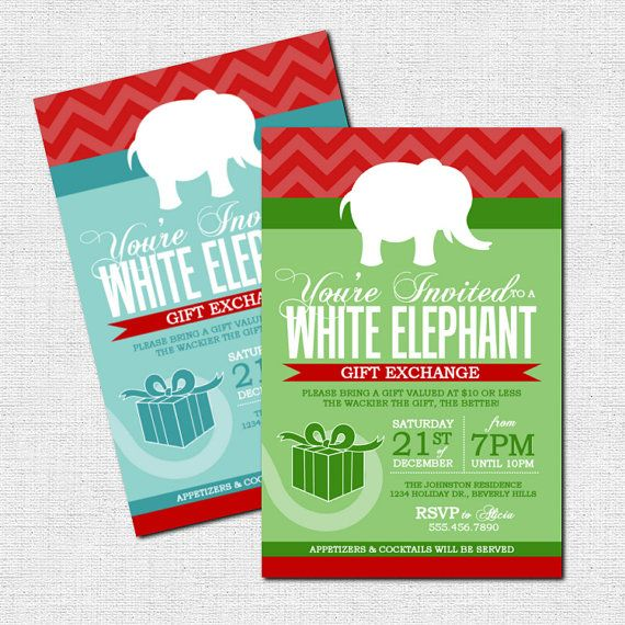 Ordinary White Elephant Christmas Party Ideas Part - 10: Items Similar To WHITE ELEPHANT Gift Exchange Invitations Christmas Party  (print Your Own) Chalkboard Style Personalized Holiday Printable Files On  Etsy