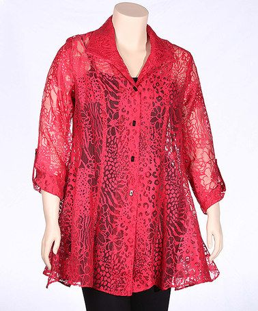 Loving this Red Sheer Floral Button-Up Swing Top - Plus on #zulily! #zulilyfinds