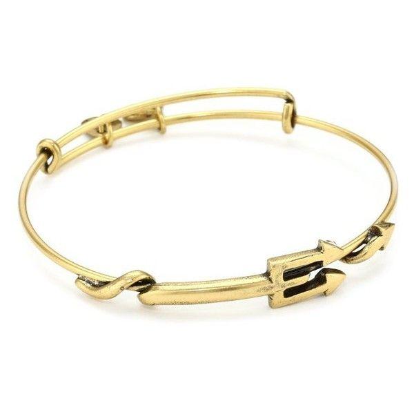 """[アレックス アンド アニ] Alex and Ani Spiritual Armor """"Trident"""" Russian-Gold... ❤ liked on Polyvore featuring jewelry, bracelets, bangle bracelet, gold jewelry, gold hinged bangle, yellow gold bangle and gold bracelets bangles"""