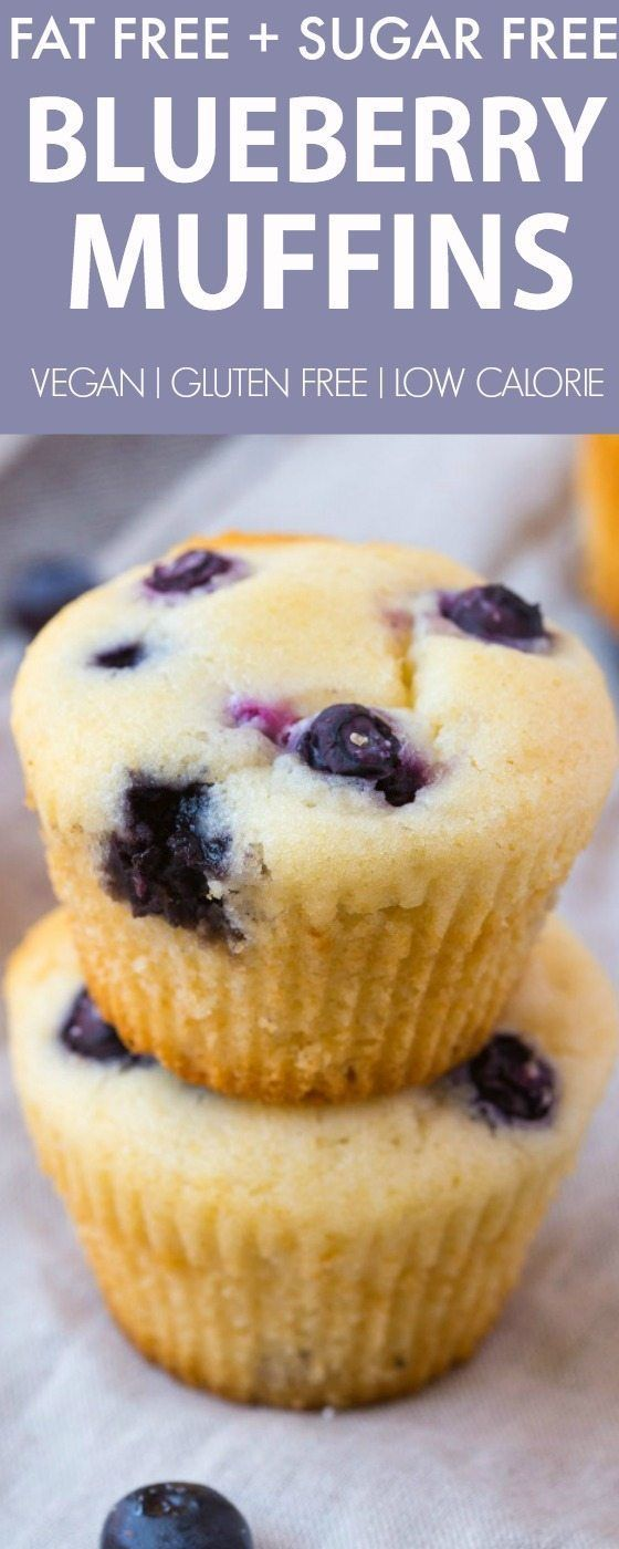 Fat Free Sugar Free Blueberry Muffins (V, GF, DF)- Moist and fluffy muffins whic…