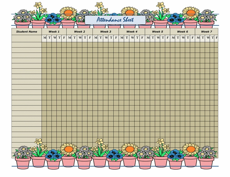 33 best images about Stuff on Pinterest - free printable attendance chart