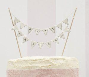 Bröllop, bröllopsdekorationer & barnkalas - My Perfect Day.se - Tårtvimpel - Just Married - Ivory