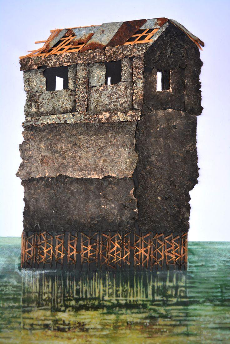 Sergio Zapata Erosión (Detalle) Metal oxidado, trozos de pared, madera, acrilico y resina sobre papel. 74 x 59 x 6 cm. 2017. #sergiozapata #Art #ContemporaryArt