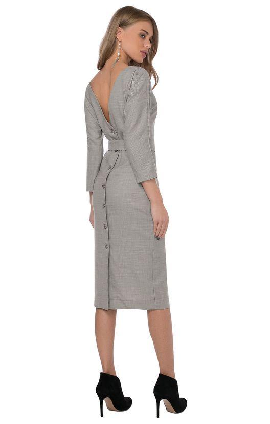 Миди-платье из вискозы с V-образным вырезом сзади и пуговицами TOP20studio / 2000000166193-0