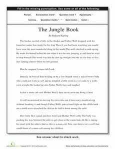Punctuation: The Jungle Book | Punctuation, Worksheets and Jungles