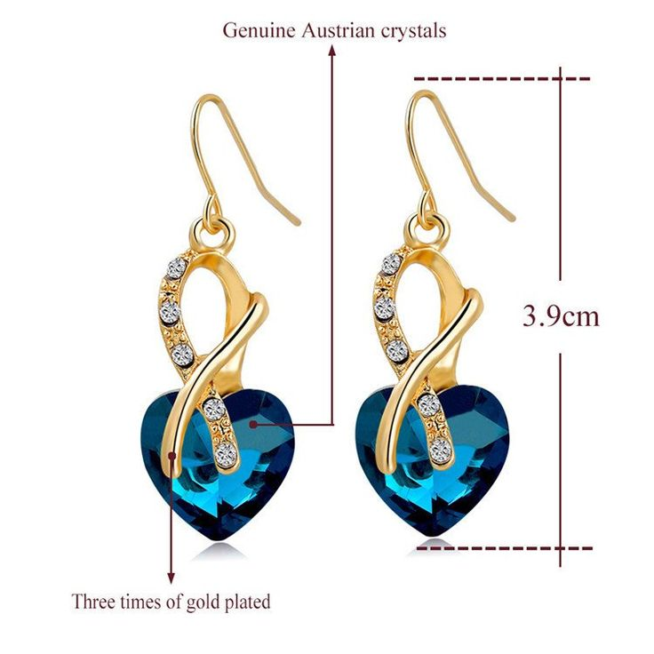 Buy WOMEN Fashion Crystal Heart Pendant Necklace & Earrings Set at Pica…