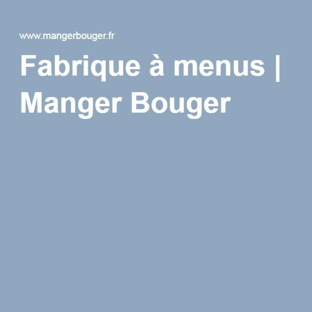Fabrique à menus | Manger Bouger