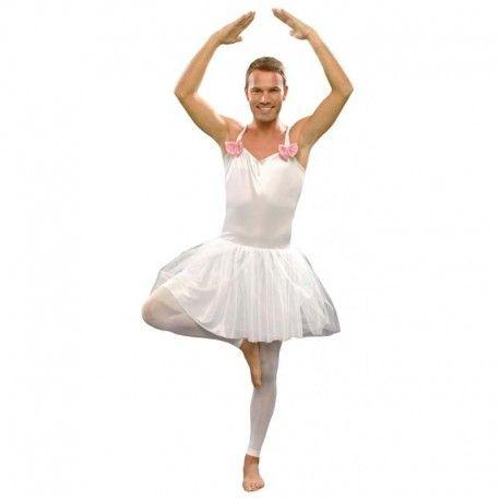Disfraces despedida de soltero | Disfraz de bailarina blanco para chico. Contiene tutu decorado con lazos. ¡Faldita con tules para darle volumen!  15,95€  #disfraz #disfraces #despedida #soltero #bailarina #tutu #tutublanco #falda #tul #faldatul #faldadetul #tulblanco