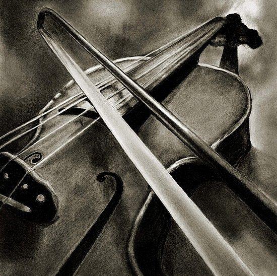 Violin by Marsha Robinett Carbon Pencil | Art/Drawing ...