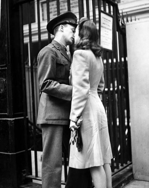 Soldier tenderly kissing his girlfriend goodbye in Pennsylvania Station before returning to duty after a brief furlough.Location:New York, NY, USDate taken:1944Photographer:Alfred Eisenstaedt