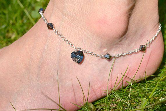 Black Heart Anklet  Swarovski Crystal Heart Ankle Bracelet