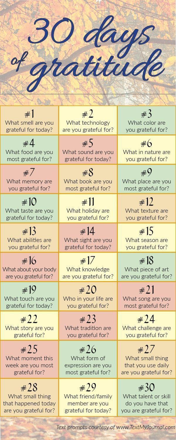 Gratitude Journal Prompts. Great for the month of November.