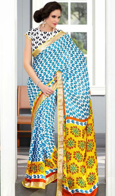 Beautiful White/Yellow Block Printed Saree
