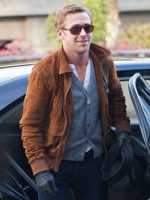 Ryan Gosling Brown Leather Jacket Top Celebs Jackets Ryan Gosling Style Mens Fashion Inspiration Ryan Gosling