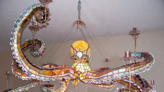 stained glass octopus chandelier - Mason Parker - awesome!