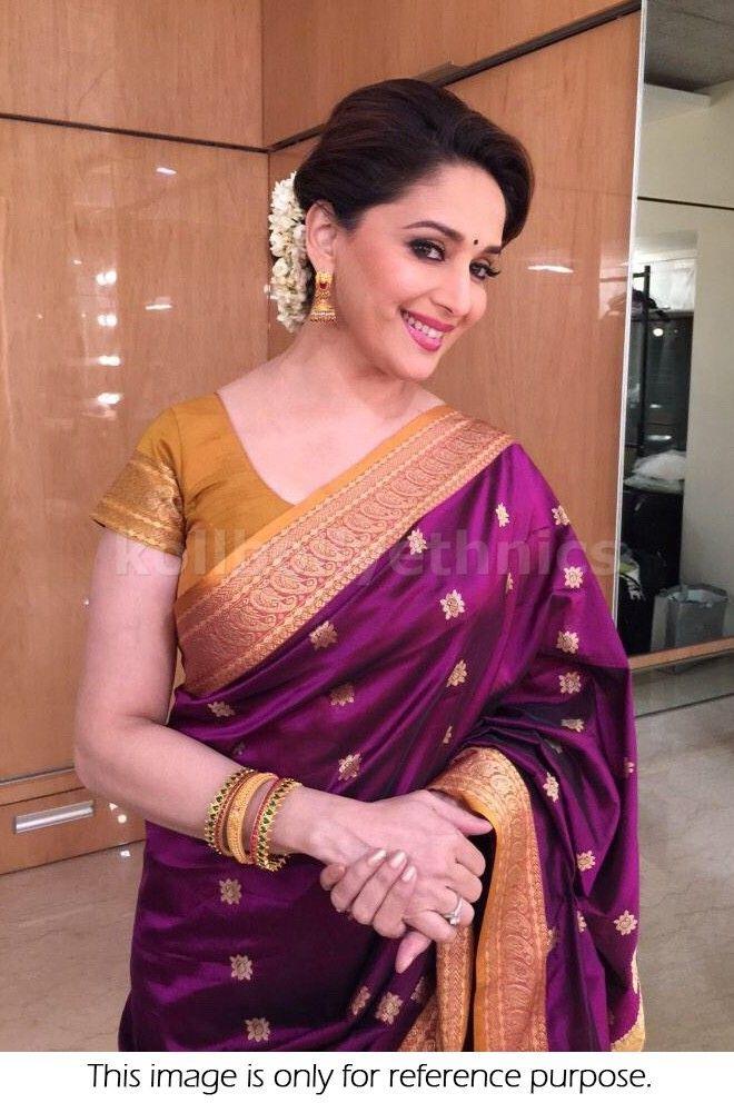 Bollywood Actress Madhuri Dixit Joya Silk Georgette Saree in Purple color