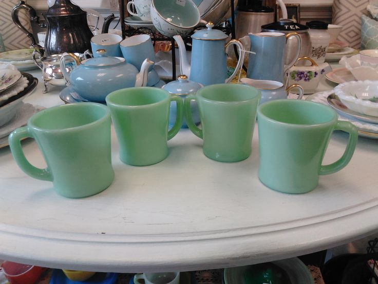 Vintage Fire King Jadeite Coffee Mugs! -- Set of 4 by ToastyBarkerBoutique on Etsy