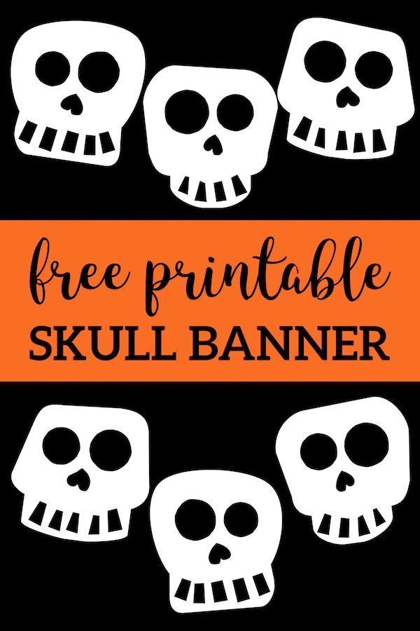 photo about Free Printable Halloween Decorations identify Cost-free Printable Halloween Skull Decoration Banner Halloween