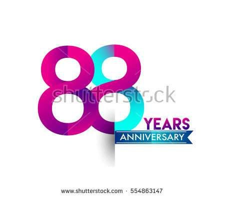 eighty eight years anniversary celebration logotype colorfull design with blue ribbon, 88th birthday logo on white background