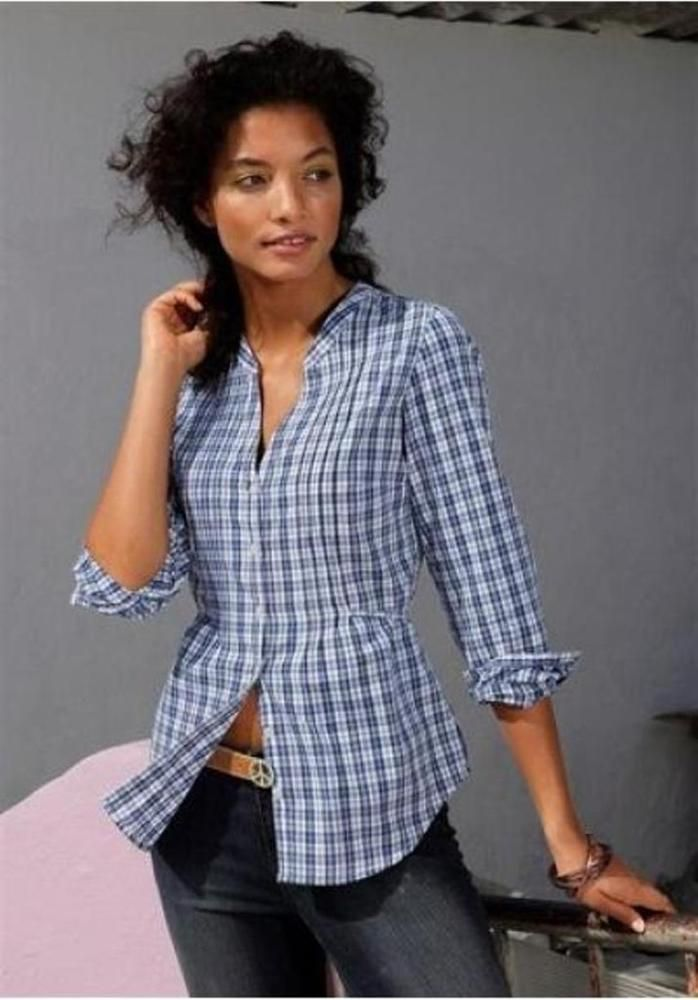 Damen Bluse von AJC in blau/weiß kariert Größe 40 NEU*** | eBay
