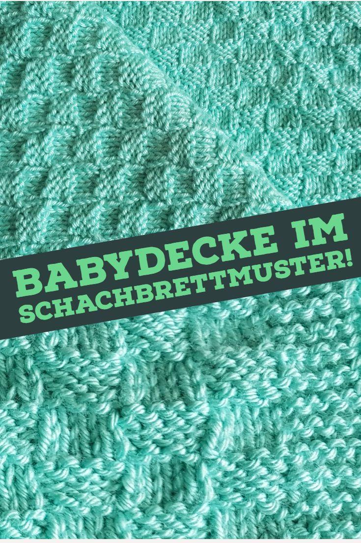 Handgestrickte Babydecke Im Schachbrettmuster Mit Anleitung