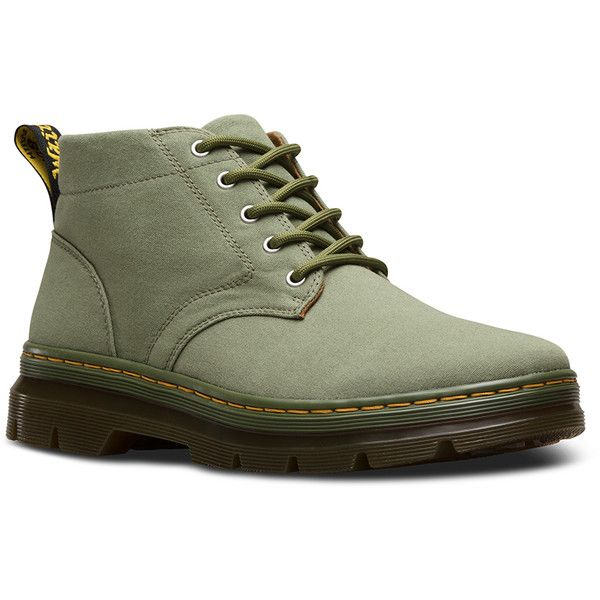 Dr. Martens Canvas Bonny Hiking Boots ($85) ❤ liked on Polyvore featuring shoes, boots, mid khaki, chukka boots, wide boots, wide width shoes, wide shoes and hiking boots