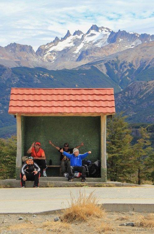 Bus stop, Villa Cerro Castillo, Chile