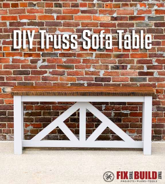Learn how to build a DIY Truss Sofa Table.  Works great as a console table too and has straight forward construction suited for beginners and experienced builders alike.  Full video tutorial and plans available.