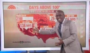 """Al Roker Uses Weather Report to Get on Climate Change Soapbox  roker_alOn Tuesday's NBC Today, Al Roker used an 8 a.m. ET hour weather report to mount his climate change soapbox and issue a dire warning to viewers: """"Well, it has been a really hot year and it just continues. 15 consecutive months of record warmth, global temperatures….But look what happens if we project out to 2050, look at how much further you start to see that deep red of 50-plus days above 100.""""   The weather map on scree"""