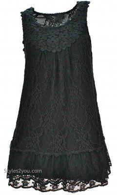 AP Anita Antique Lace Tunic In Black