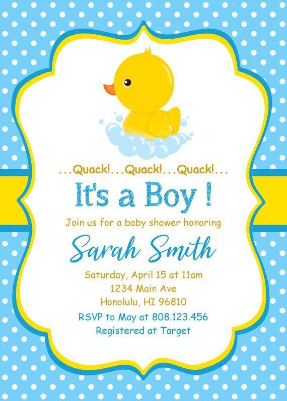 Rubber Duck Baby Shower Invitation Little Ducky