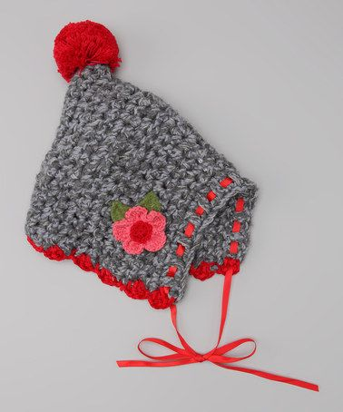 Gray & Red Flower Crocheted Pom-Pom Bonnet by Victoria Kids on #zulily #ad *reminds me of a hat from my grandma when I was a kid