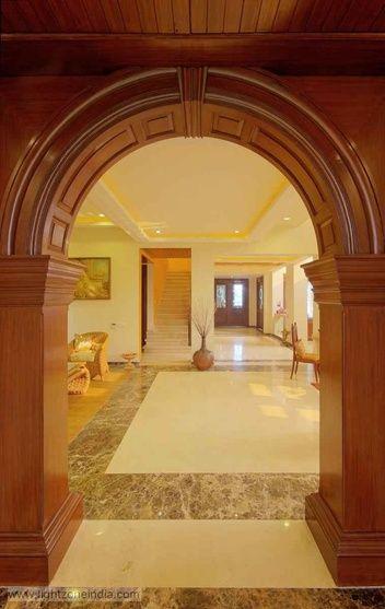 Modern Farmhouse Entrance Interiors, design by N. goyal associates, architect in Delhi, India.