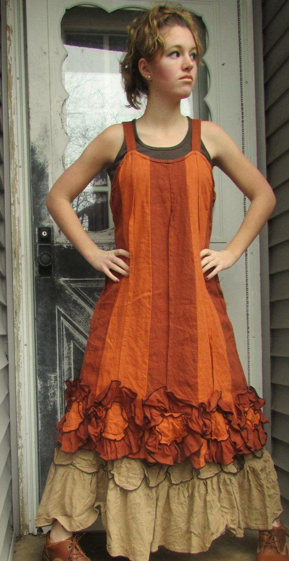 Rust Linen Striped Flower Bottom Dress M by sarahclemensclothing