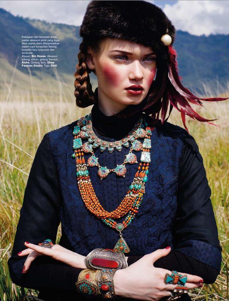 journey to the east: kseniya shapovalova by nicoline patricia malina for harper's bazaar indonesia september 2014