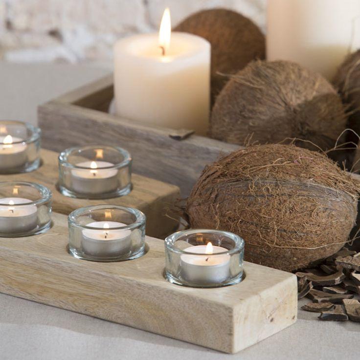 porta velas de madera con vasos de cristal para eventos y decoracin decoragloba