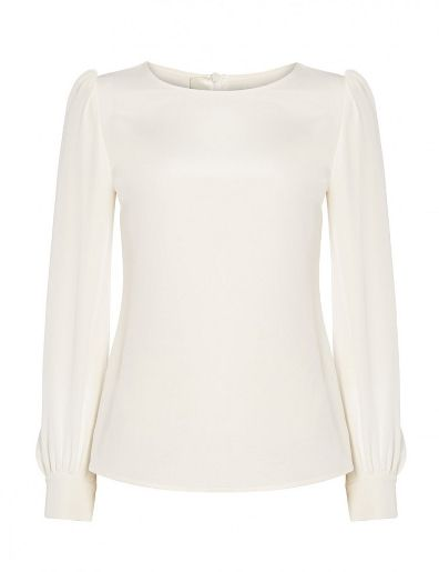 I like the idea of a cream blouse, with the sleeve not too puffy