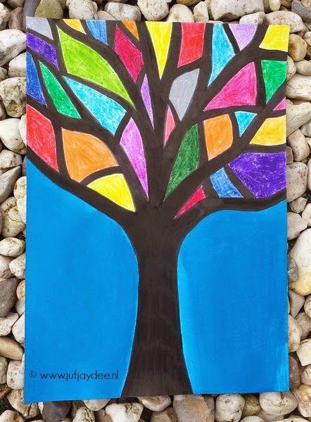 Benodigdheden: - stevig wit papier (afmeting naar keuze) - wasco - blauwe ecoline   Begin met het tekenen van de boom. Deze boom wordt ...