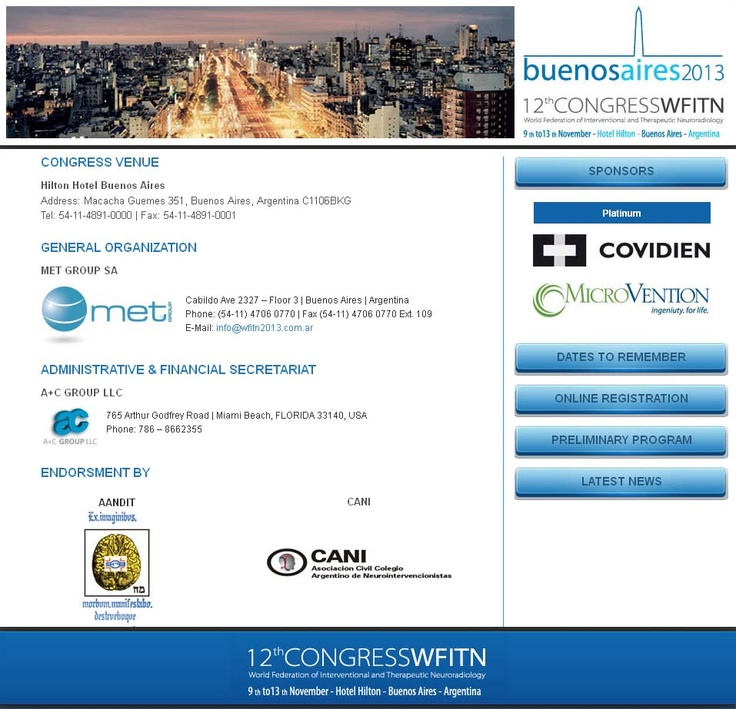 12th Congress of the World Federation of Interventional Neuroradiology 2013 (WFITN 2013) | MediSitu.Com