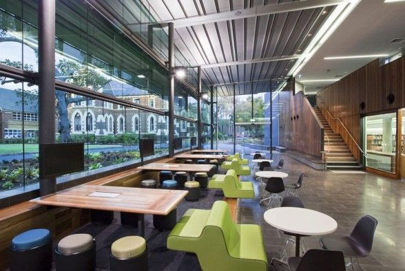 cool school cafitria | The Lilley Centre Brisbane Grammar School interior design cafeteria