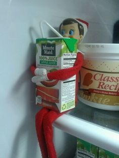 "We love to do Elf on a shelf, our elf is , ""Sport"", he does cray things around our house like this during the holidays, he writes the kids notes and writes on their faces while they r sleeping,and steals their juice boxes! It is so much fun, especially to see the kids faces."