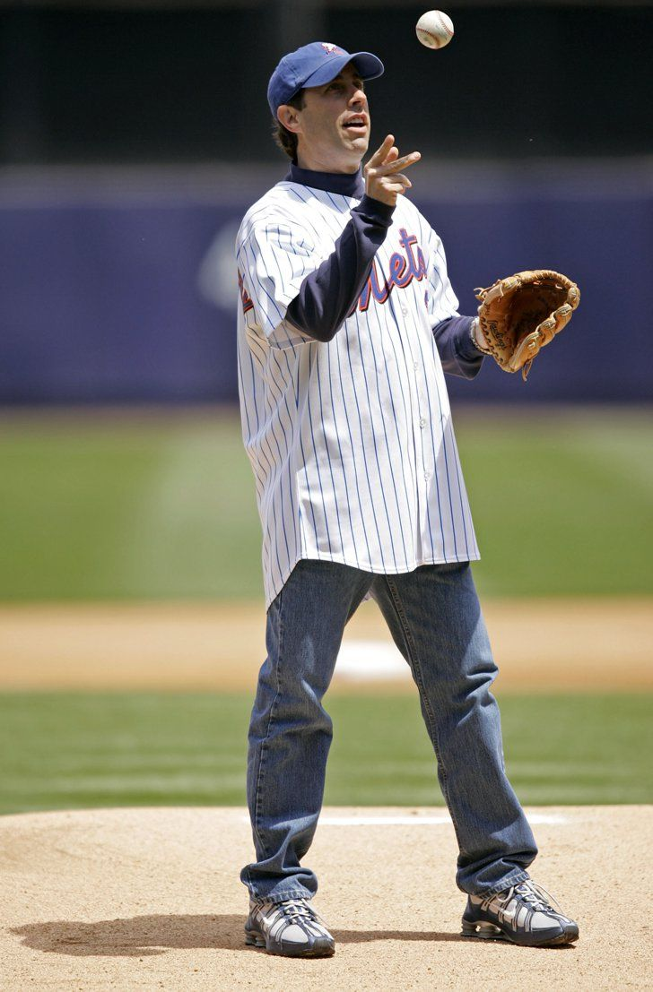 Pin for Later: Pitch Perfect — Stars Get Their Game On!  Jerry Seinfeld threw the ball around before his first pitch at the New York Mets game in May 2005.