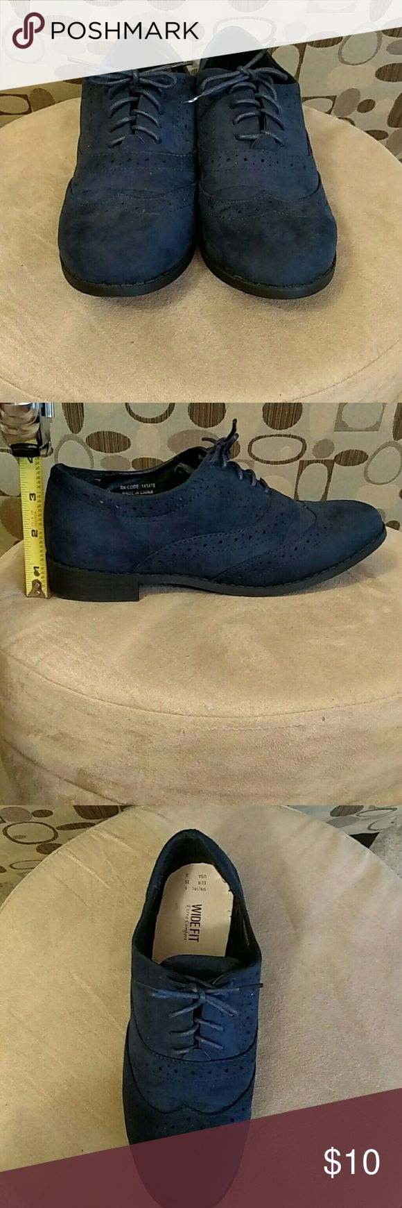 Primark faux suede Oxfords? 8W These Oxfords were worn once. They have a soft suede feel. The sole is 1 inch. True navy color. Primark Shoes Flats & Loafers